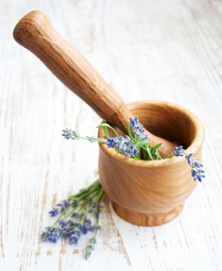 Mortar And Pestle With Lavender