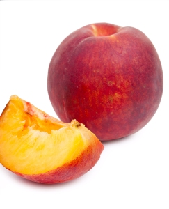 Fresh Red Peach And Slice Of Red Peach Isolated On White